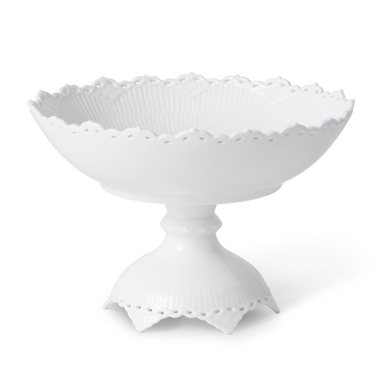 White Fluted Full Lace Footed Compote