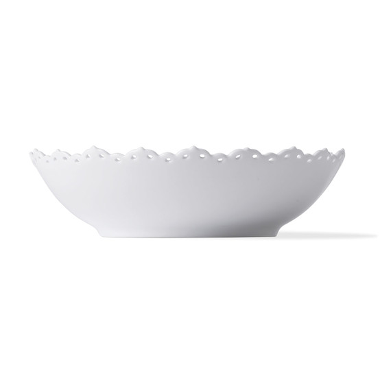 White FLuted Full Lace Serving Bowl