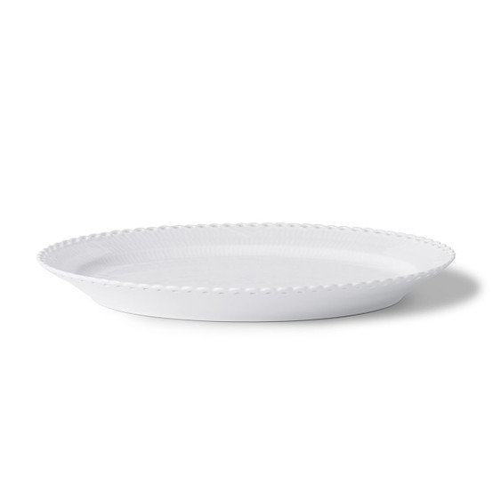 Large White Fluted Full Lace Oval Platter