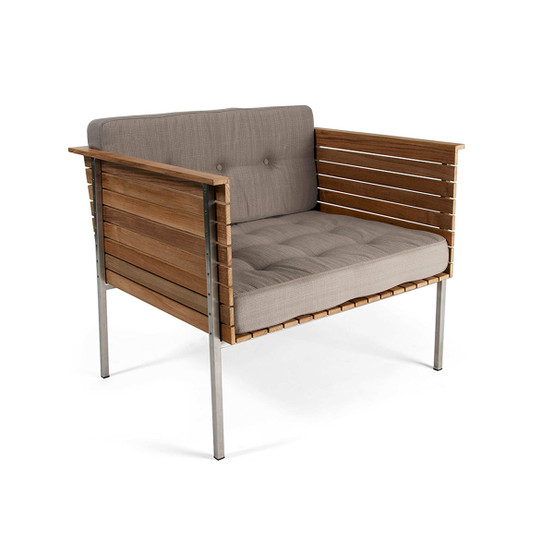 Häringe Lounge Chair with Brushed Stainless Steel Frame