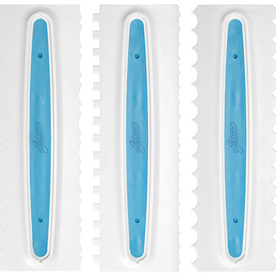 3 Piece 6 Design Icing Comb Set
