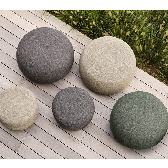 Circle Large Round Footstool in Taupe
