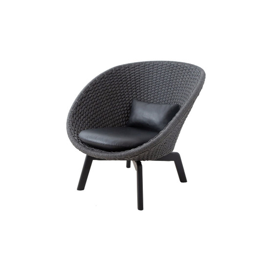 Peacock Indoor Lounge Chair Cushion Set in Black Leather
