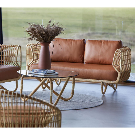 Nest 2 Seat Indoor Sofa Cushion Set in Cognac Leather