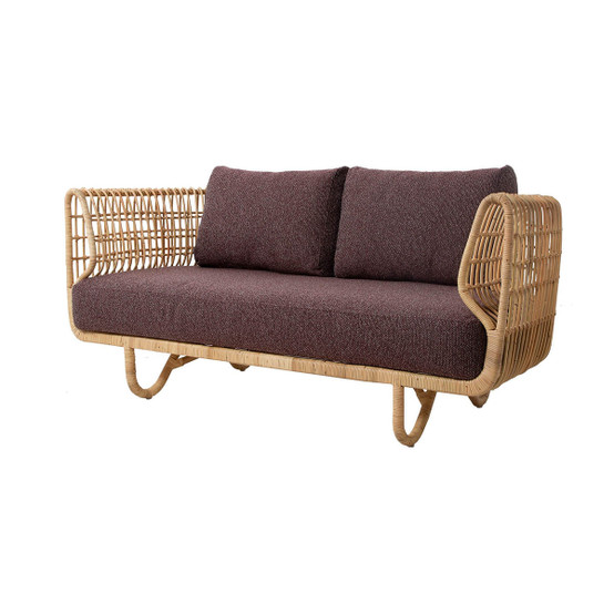 Nest 2 Seat Indoor Sofa Cushion Set in Dark Bordeaux