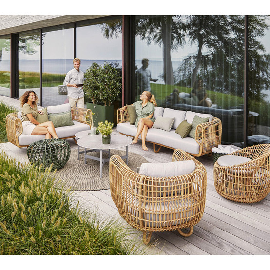 Nest 3 Seat Outdoor Sofa with Natural Weave and Natte Cushions