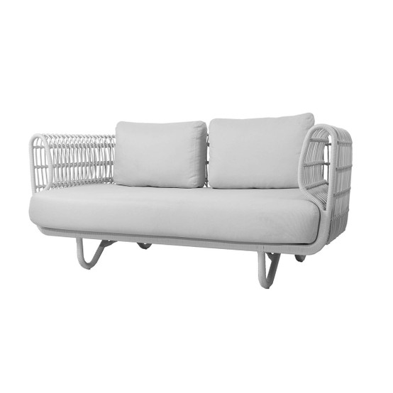 Nest 2 Seat Outdoor Sofa with White Weave and Natte Cushions