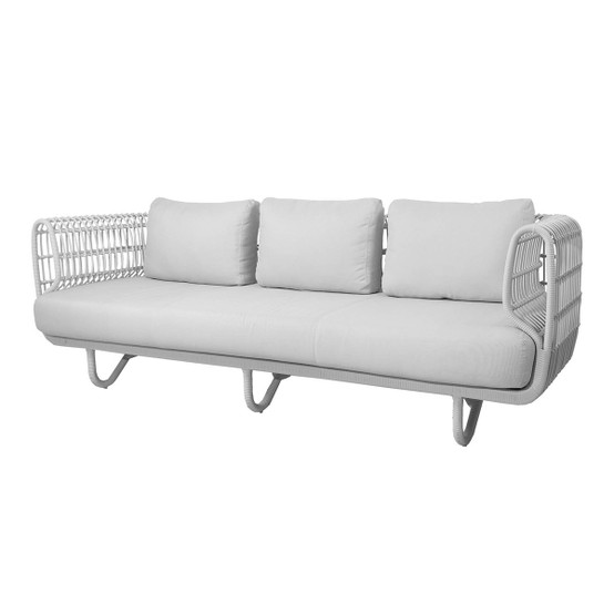 Nest 3 Seat Outdoor Sofa with White Weave and Natte Cushions