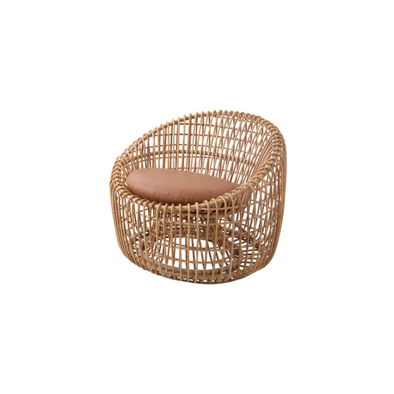 Nest Indoor Round Chair Cushion in Cognac Leather