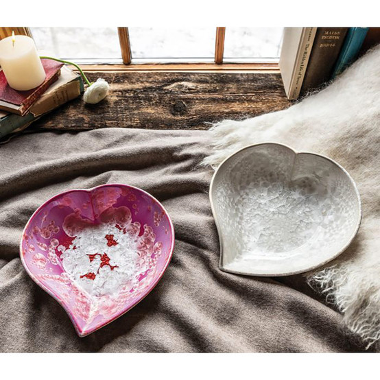 Large Crystalline Heart Dish in Rose