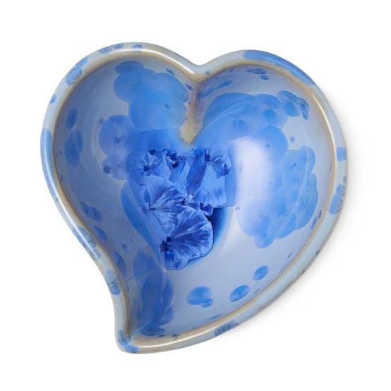 Crystalline Heart Dish in Cobalt