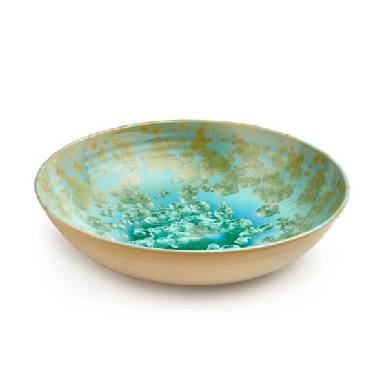 Large Crystalline Low Bowl in Jade