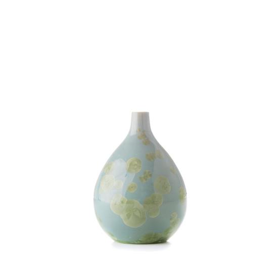 Small Crystalline Teardrop Vase in Jade