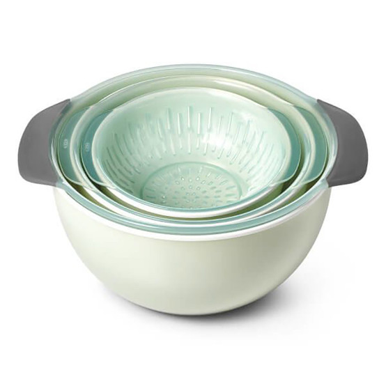 Good Grips 9 Piece Nesting Bowls and Colander Set in Sea Glass