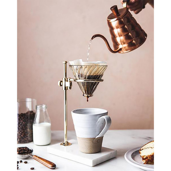 Brass and Marble Pour Over Stand