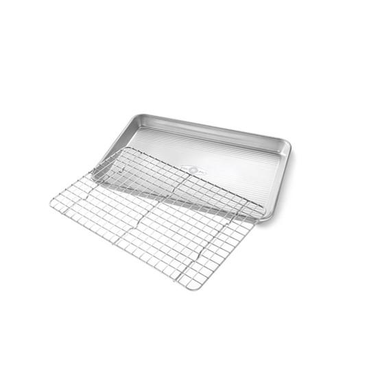 Quarter Sheet Nonstick Cooling Rack and Pan Set