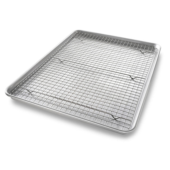 Extra Large Bakeable Nonstick Cooling Rack and Pan Set