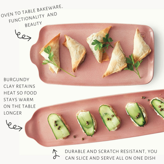 Long Appetizer Platter in Rose