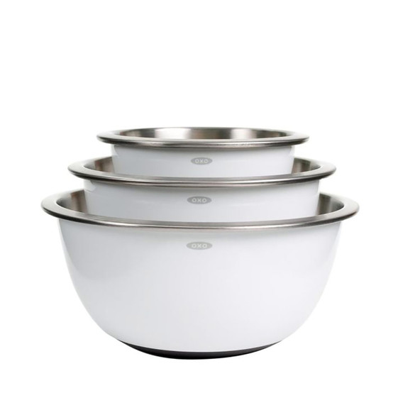 Good Grips 3 Piece Stainless Steel Mixing Bowl Set in White