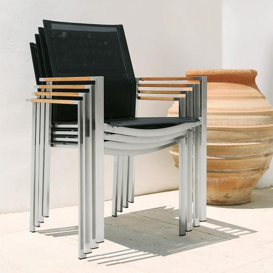 Mercury Stacking Stainless Steel Armchair Teak Armrests