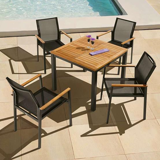 Aura Aluminum Square Dining Table 35 Inch