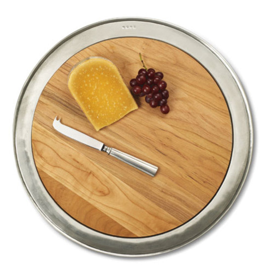 Round cheese tray with wood, large