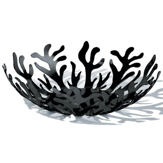 "Mediterraneo Fruit Bowl in Black 8.25"""