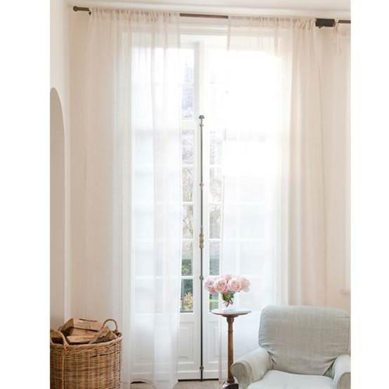 Casper Tie Top Linen Sheer Curtain