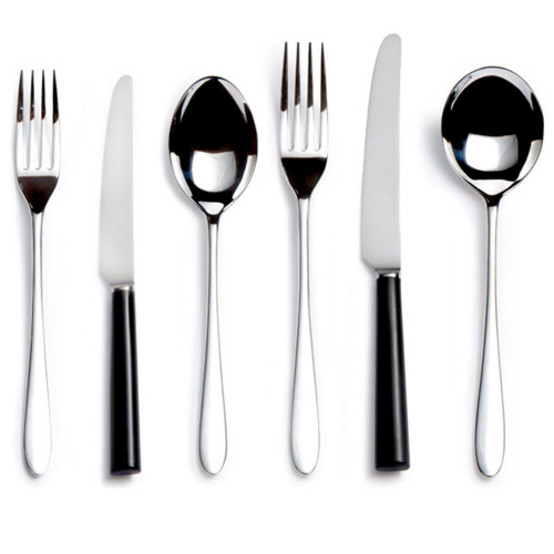 Pride Silver Plate Black Handle Six-piece Place Setting