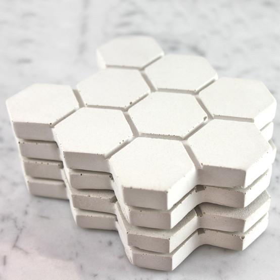 Large Hexagonal Concrete Coasters - White