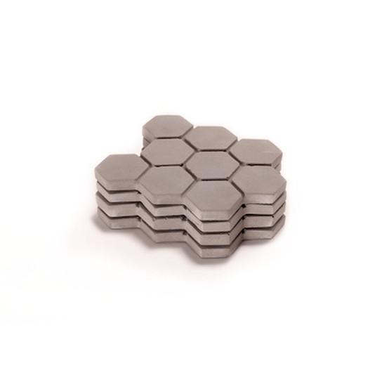 Large Hexagonal Concrete Coasters - Gray