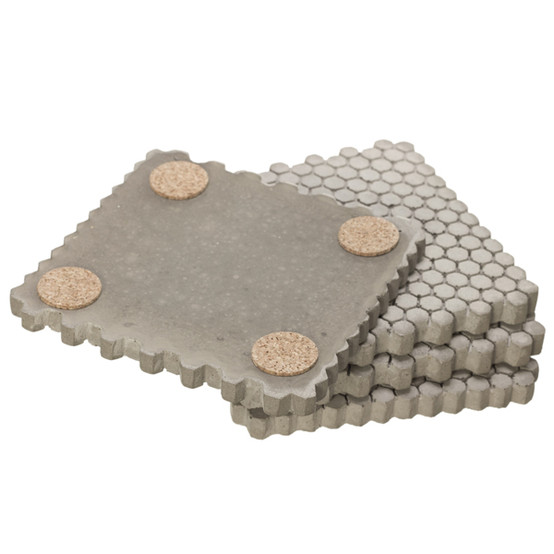 Small Hexagonal Concrete Coasters - Gray