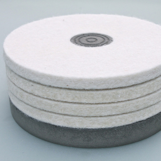 Felt Coasters with Concrete Base - White