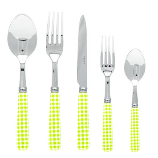 Gingham 5 pcs Place Setting-Lime