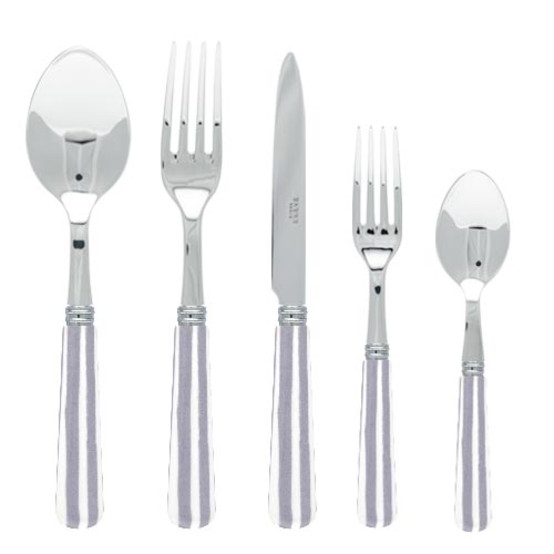 White Stripe 5 pc Place setting-Grey