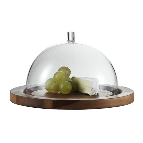 Jenaer Glas Cheese Dome and Acacia Plate
