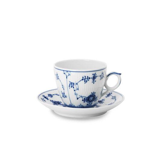 Blue Fluted Plain Espresso Cup & Saucer