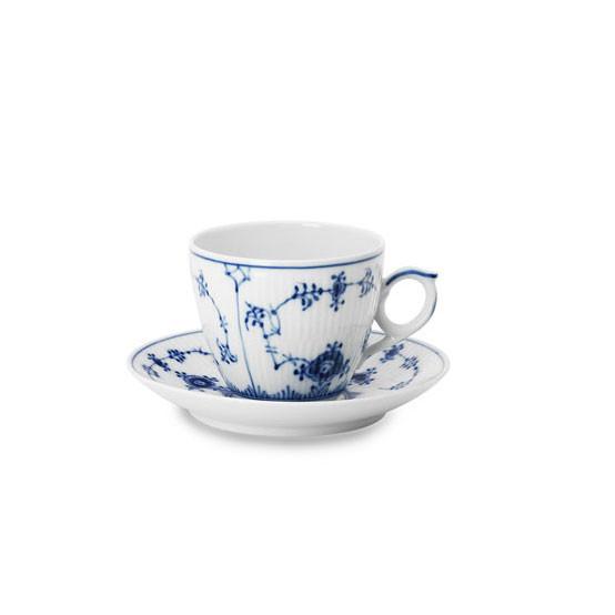 Blue Fluted Plain Cup & Saucer