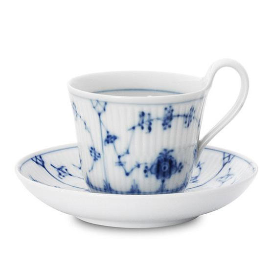 Blue Fluted Plain Cup & Saucer, High Handle