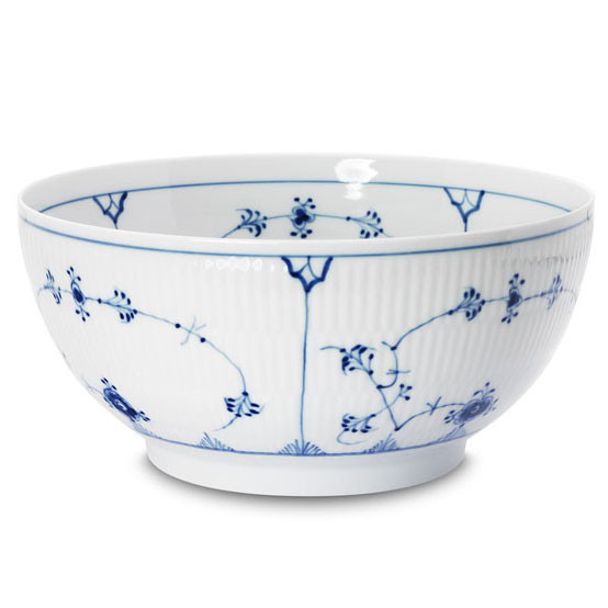 Blue Fluted Plain Small Serving Bowl