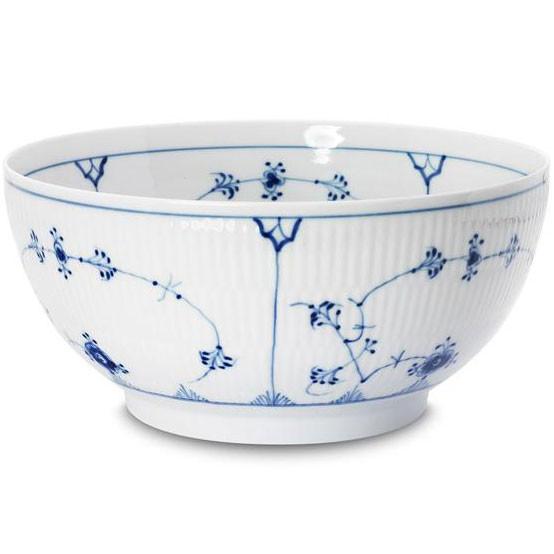 Blue Fluted Plain Large Salad Bowl