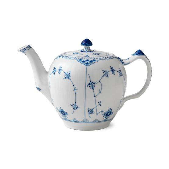 Blue Fluted Half Lace Teapot