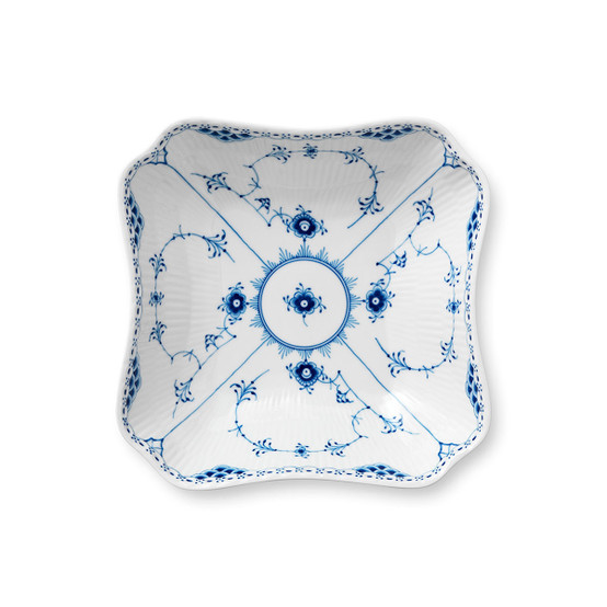 Blue Fluted Half Lace Square Serving Bowl
