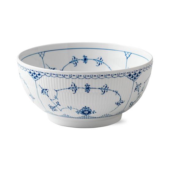Blue Fluted Half Lace Large Salad Bowl