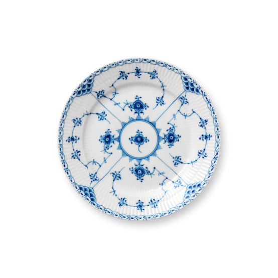 Blue Fluted Half Lace Salad/Dessert Plate 7.5 Inches