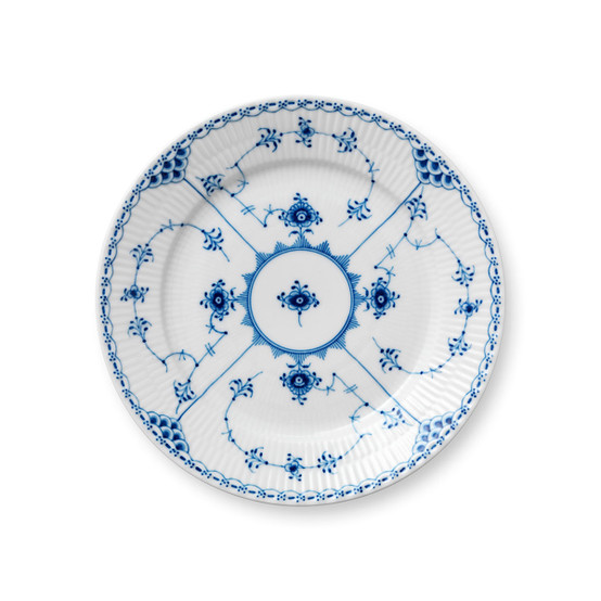 Blue Fluted Half Lace Salad/Dessert Plate 8.6 Inches
