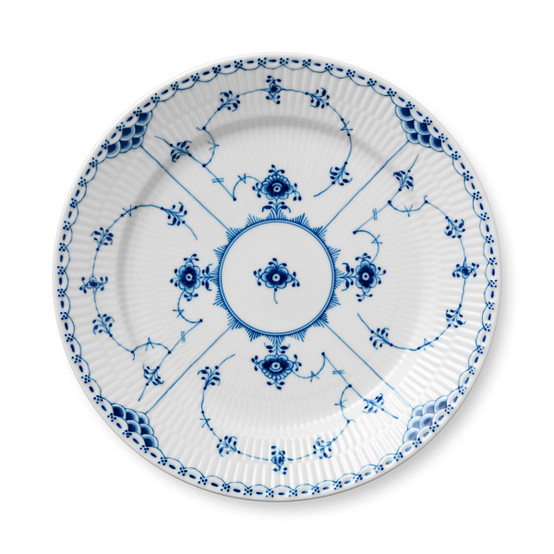 Blue Fluted Half Lace Dinner Plate