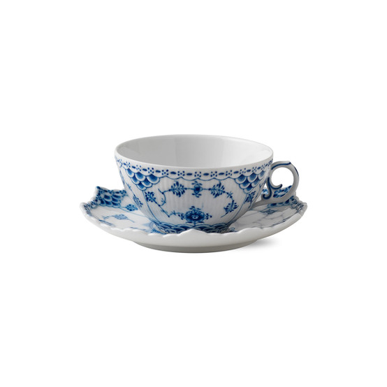 Blue Fluted Full Lace Cup & Saucer