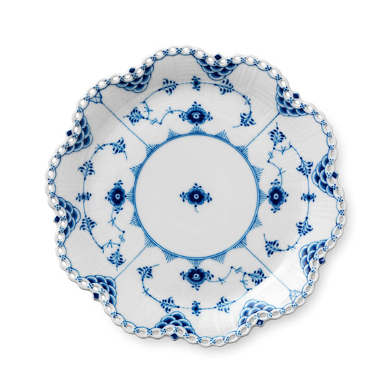 Blue Fluted Full Lace Dish