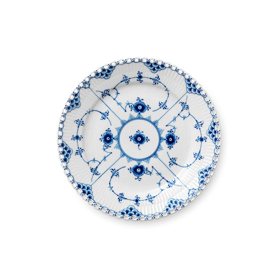 Blue Fluted Full Lace Salad/Dessert Plate